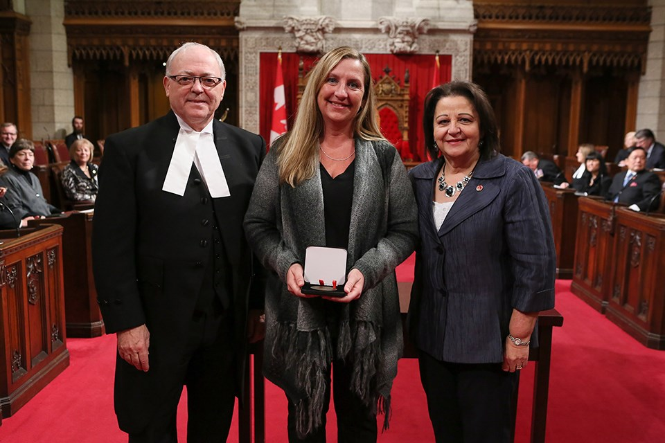 Speaker of the Senate with Senator Poirier and medal recipient Julie Hudson